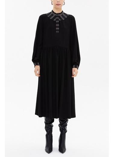 Societa Desenli Kumaş Kombinli Büzgülü Midi Elbise 92484 Siyah